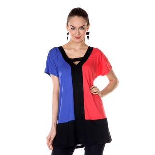 Women's Blue and Coral Colorblocked Peek-a-boo Top
