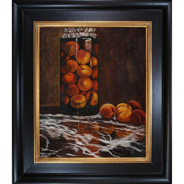 Claude Monet 'Jar of Peaches ' Hand Painted Framed Canvas Art
