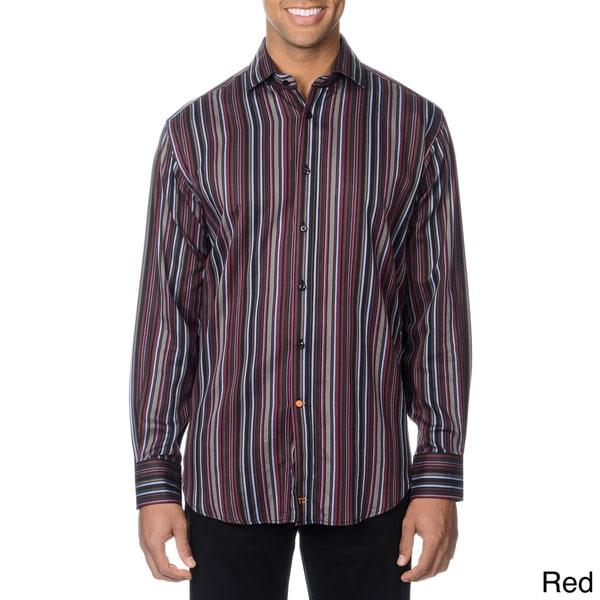 Thomas Dean Men's Multicolor Striped Button-down Shirt
