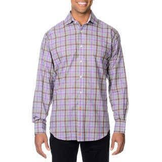 Thomas Dean Men's Purple Plaid Button-down Shirt