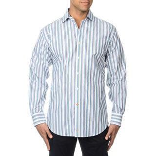 Thomas Dean Men's Green Striped Button-down Shirt