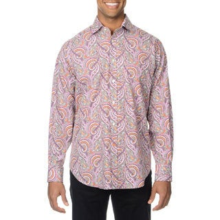 Thomas Dean Men's Pink Paisley Button-down Shirt