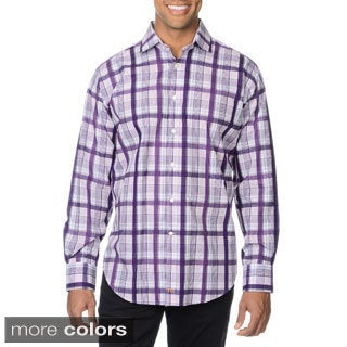 Thomas Dean Men's Plaid Button-down Shirt