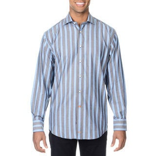 Thomas Dean Men's Grey Striped Button-down Shirt
