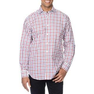 Thomas Dean Men's Red Checkered Button-down Shirt