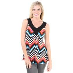 24/7 Comfort Apparel Women's Multicolor Print Pleated Tunic Tank Top
