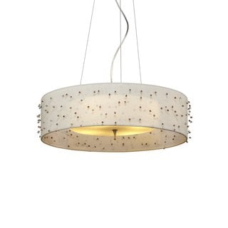 Sunkissed Fluorescent 4-light Suspension Fixture with Ivory Shade and Opal Glass