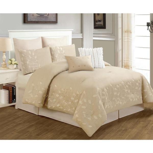 Dana Beige Floral 8-piece Comforter Set (As Is Item)