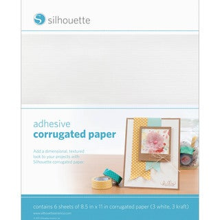 "Silhouette Adhesive-Back Corrugated Paper 8.5""X11"" 6/Pkg-White & Kraft, 3/Each"