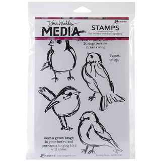"Dina Wakley Media Cling Stamps 6""X9""-Scribbly Birds"