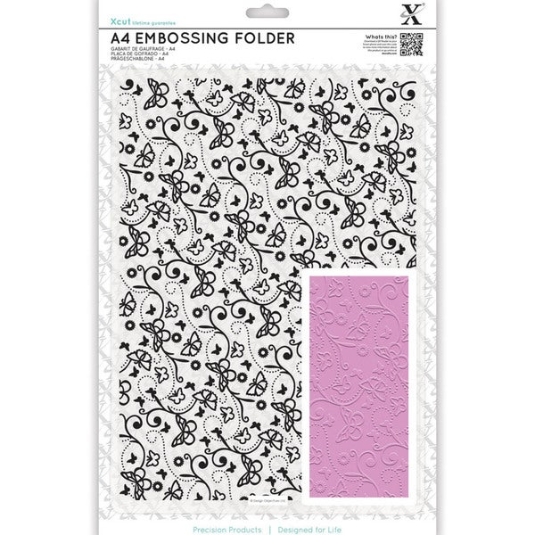 Xcut Universal A4 Embossing Folder-Butterfly Pattern