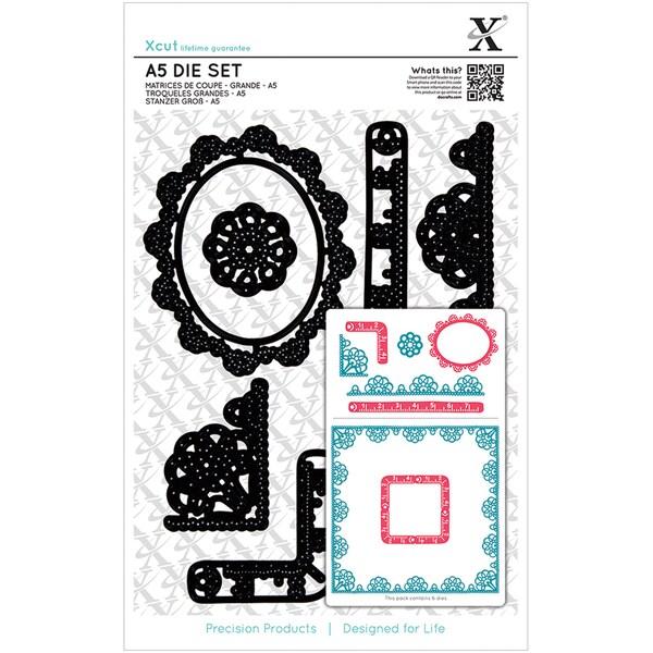 Xcut A5 Die Set 6/Pkg-Sew Lovely Trim Borders