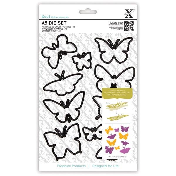 Xcut A5 Die Set 10/Pkg-Butterflies