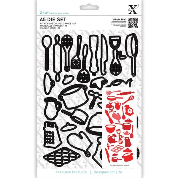 Xcut A5 Die Set 26/Pkg-Kitchen Utensils