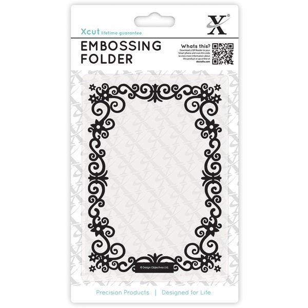 Xcut Universal A6 Embossing Folder-Floral Frame