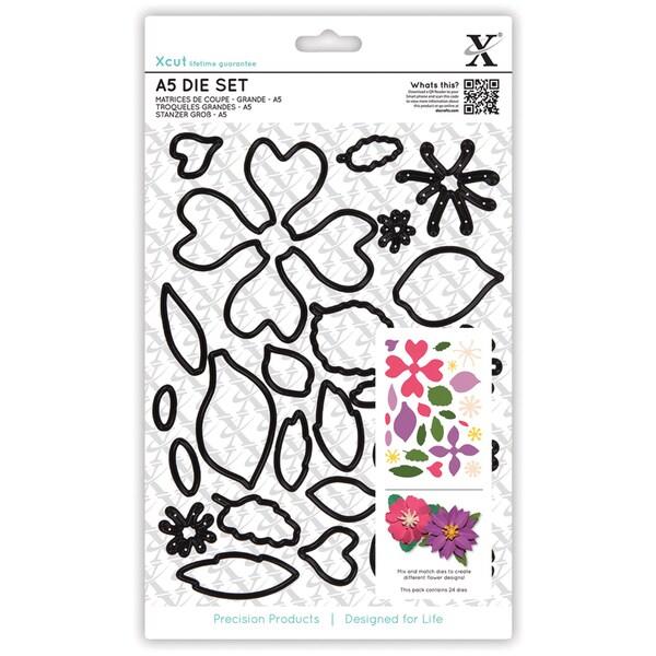 Xcut A5 Die Set 24/Pkg-Flowers
