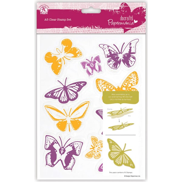 Papermania A5 Clear Stamps-Butterflies 10 Pieces
