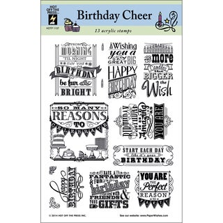"""Hot Off The Press Acrylic Stamps 6""""X8"""" Sheet-Birthday Cheer"""