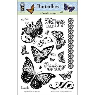 "Hot Off The Press Acrylic Stamps 6""X8"" Sheet-Butterflies"