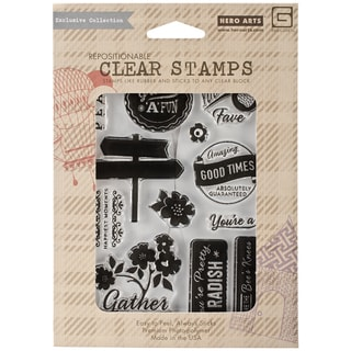 Basic Grey Herbs & Honey Clear Stamps By Hero Arts-Gather Love
