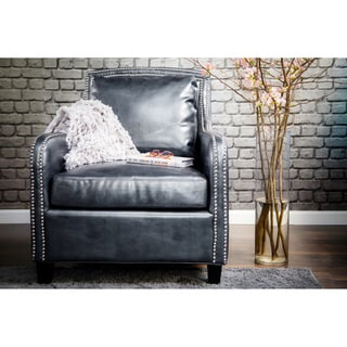 Zoe Grey Leather Chair 15751404 Overstock Com Shopping