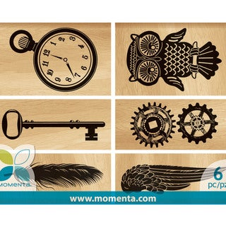 Momenta Mounted Stamp Set 6pcs-Vintage Gear