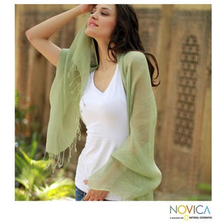 Linen 'Sheer Moss Green' Shawl (India)