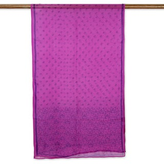 Silk 'Brindavan Orchids' Shawl (India)