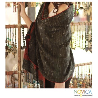 Handwoven Wool Blend 'Kullu Night' Shawl (India)