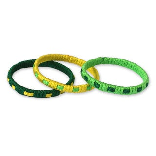 Set of 3 Handcrafted Polypropylene 'Verdant Fantasy' Bracelets (Ghana)