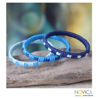 Set of 3 Handcrafted Polypropylene 'Blue Fantasy' Bracelets (Ghana)