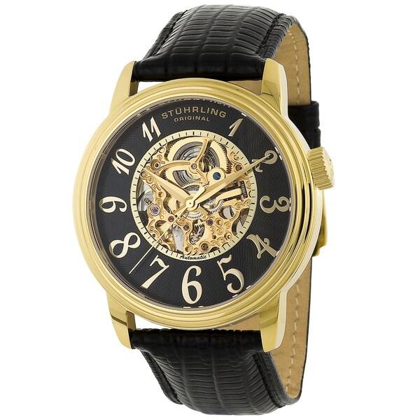 Stuhrling Original Men's Apollo Automatic Leather Strap Watch