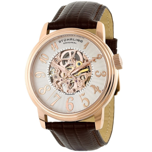 Stuhrling Original Men's Apollo Automatic Leather Strap Watch