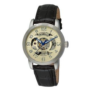 Stuhrling Original Men's Delphi Alpha Automatic Leather Strap Watch Set