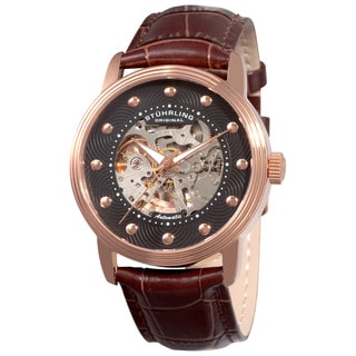 Stuhrling Original Men's Delphi Helios Automatic Leather Strap Watch