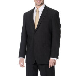 Pronto Men's Slim Fit Wool Max Charcoal Wool Blend 2-piece Suit