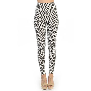 Hadari Juniors Black and Cream Geometric Print Leggings
