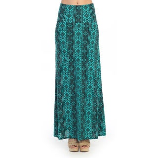 Black/ Teal Geometric Maxi Skirt