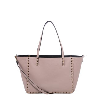 Valentino 'Rockstud' Small Nude/ Black Grainy Leather Reversible Shopper