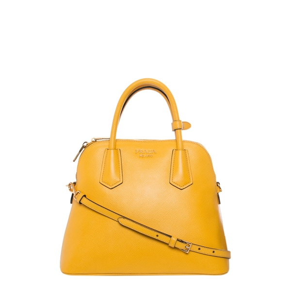Prada Small Yellow Saffiano Leather Dome Satchel