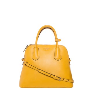 Prada Small Yellow Saffiano Leather Dome Satchel
