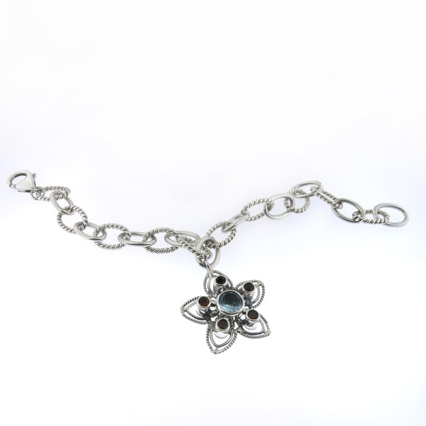 Handcrafted Sterling Silver Bali Oval Links with Gemstone Flower Charm Bracelet (Indonesia)