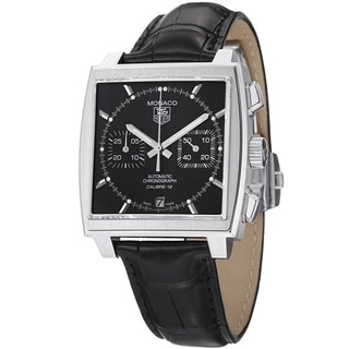 Tag Heuer Men's CAW2110.FC6177 'Monaco' Black Dial Black Leather Strap Watch