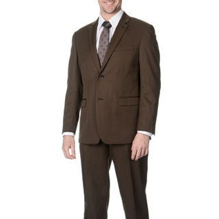 Martino Men's Slim Fit Wool Rich Brown Wool Blend Suit