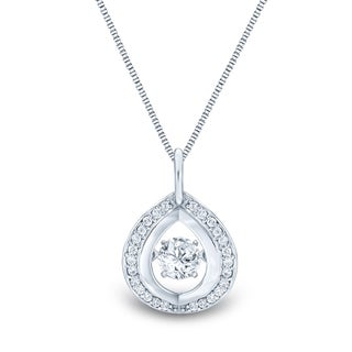 Auriya 14k White Gold 1/3ct TDW 'Dancing Stone' Moving Diamond Necklace (H-I, I1-I2)