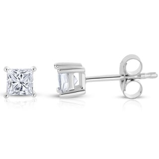 14k White Gold 1/2ct TDW Princess-cut Diamond Solitaire Stud Earrings (H-I, I2-I3)