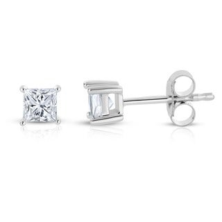 14k White Gold 1/4ct TDW Princess-cut Diamond Solitaire Stud Earrings (H-I, I2-I3)