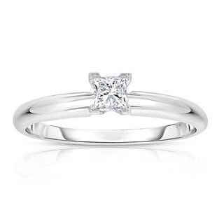 14k White Gold 1/4ct TDW Princess Solitaire Diamond Engagement Ring (H-I, I2-I3)