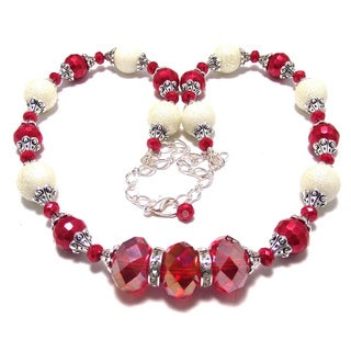 Glass Pearl and Siam Red Crystal 4-piece Wedding Jewelry Set