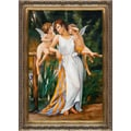 Guillaume Seignac 'Nymph and Cherubs ' Hand Painted Framed Canvas Art